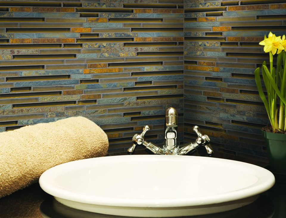 Brilliant Gold Glass Tile. California Gold Blend Bathroom Sink Backsplash  ...