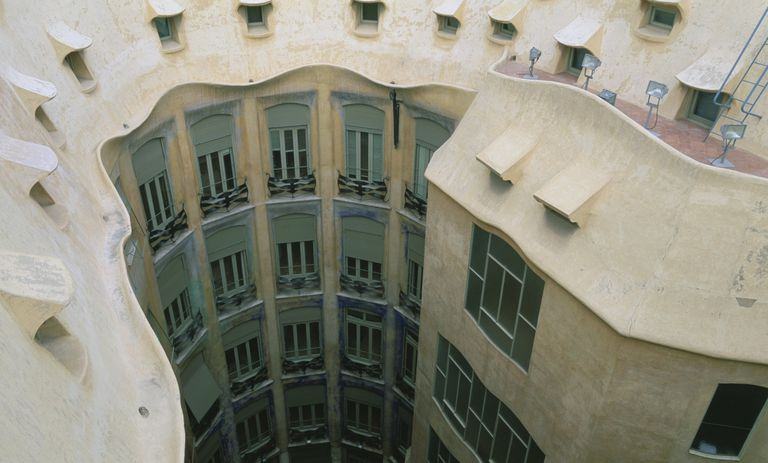Lightwell in Casa Milà Barcelona, or La Pedrera, designed by Antoni Gaudi, early 1900s