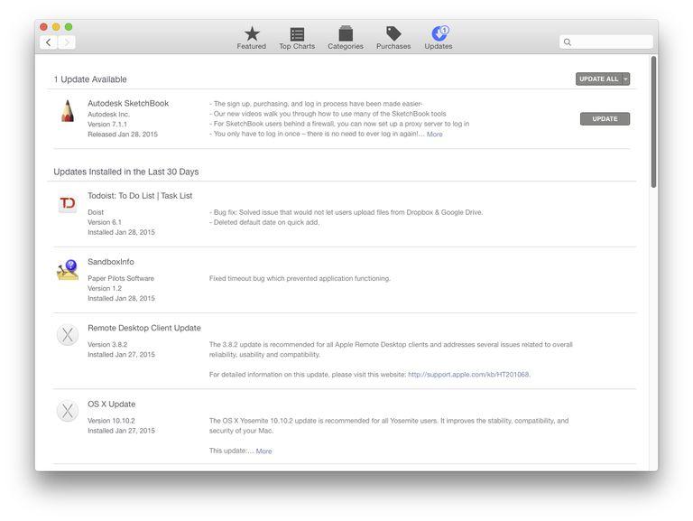 Mac App Store update tab