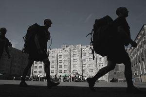 Shadows of walking men