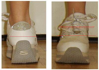 Working from the back and front of the shoe will not allow a straight hem.