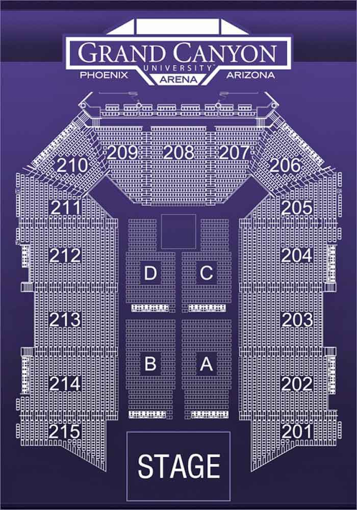 Seating Chart for Grand Canyon University Arena in Phoenix