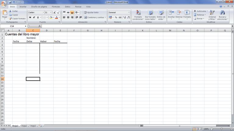 Cuentas T para contabilidad con hojas de cálculo