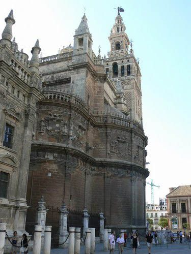 Seville's cathedral, at the edge of the Barrio Santa Cruz, is one of the biggest in Europe