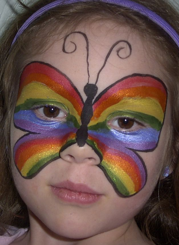 Face Painting Designs -- Rainbow Butterfly