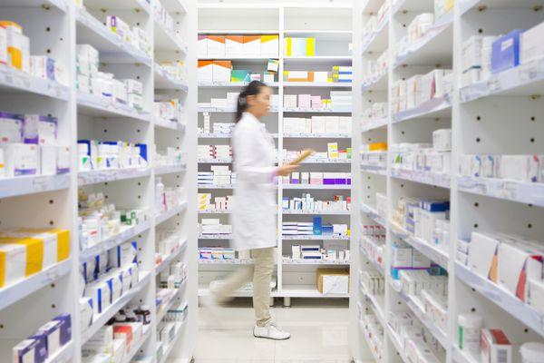 A crowded pharmacy storage area.