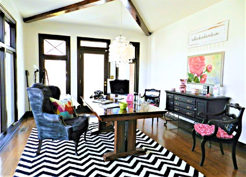 Office-to-Living Room Makeover Before