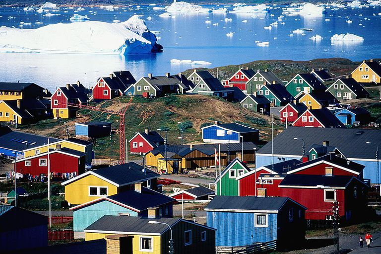 Greenland, Narsarsuaq, town by icebergs, august