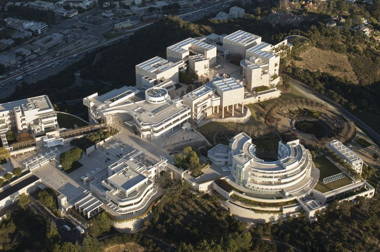 Aerial view pf Getty Center, designed by Pritzker Prize winning architect Richard Meier