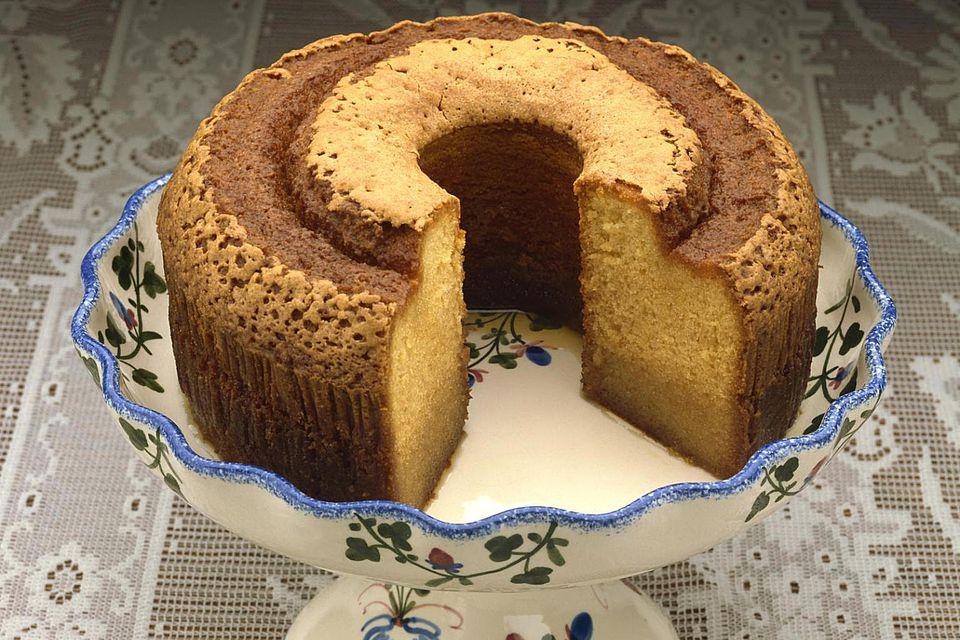 Rum cake on platter