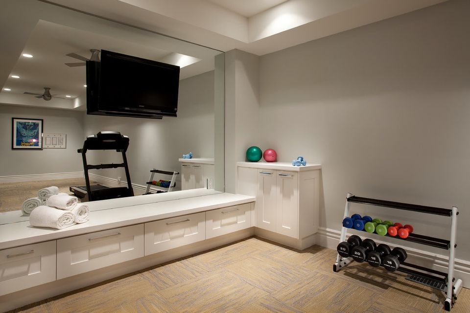 home gym with built-in storage