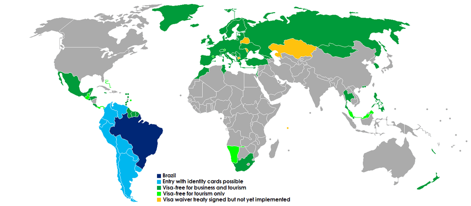 Visa requirements for travel to Brazil