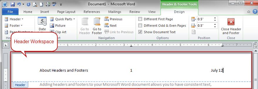 header designs for word
