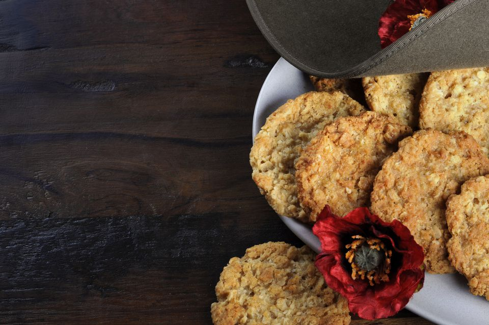 ANZAC biscuits with remembrance poppy