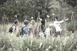 Volunteer leading kids on a fielf trip.