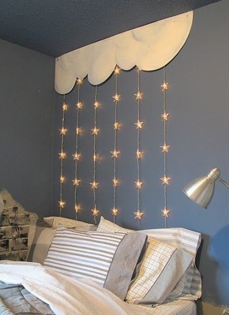 string lights above bed