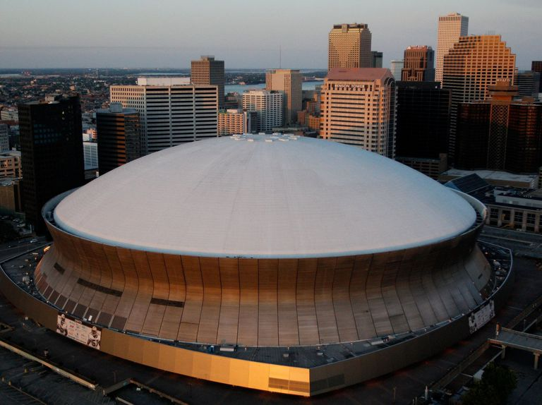 Aerial photo, roof of the New Orleans Superdome stadium