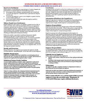 Family and Medical Leave Act (FMLA) Poster