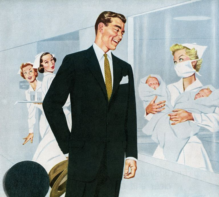 Drawing of a nurse showing a father his newborn twins.