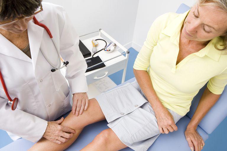 Doctor Examining Patient's Knee Details