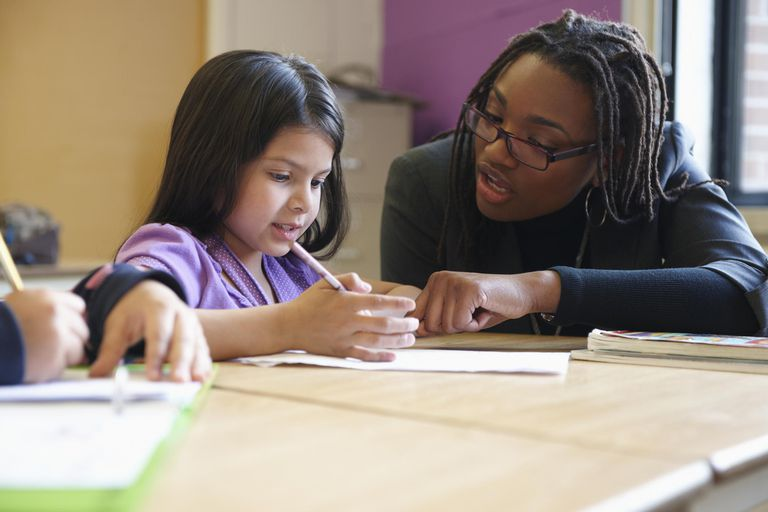Teacher helping student with school work