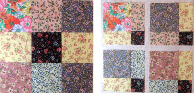 Disappearing Nine Patch Quilt Block Pattern