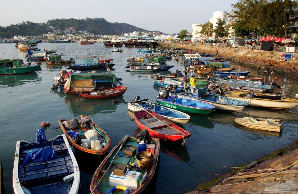Colorful fishing boats docked at Cheung Chau