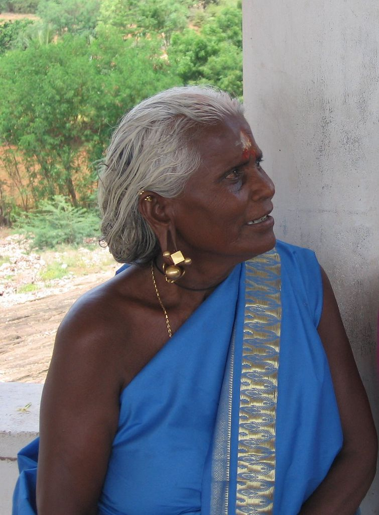 An elderly Tamil woman in southern India