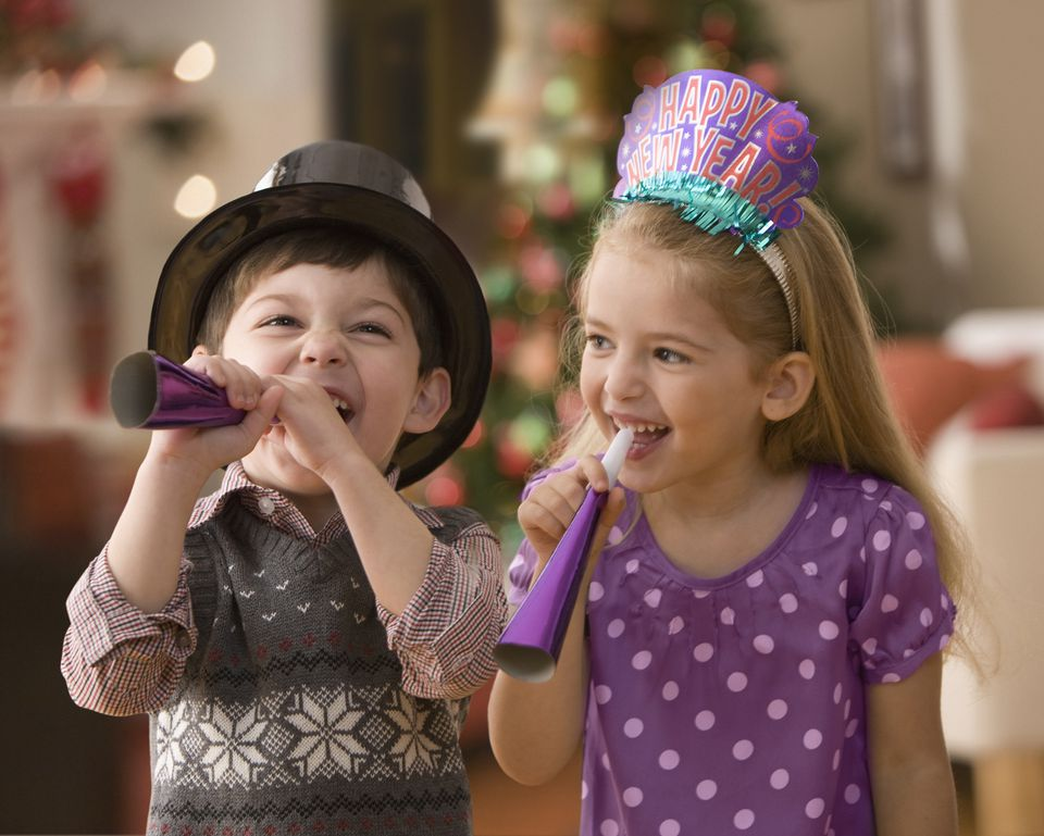 Kids at a New Year Party