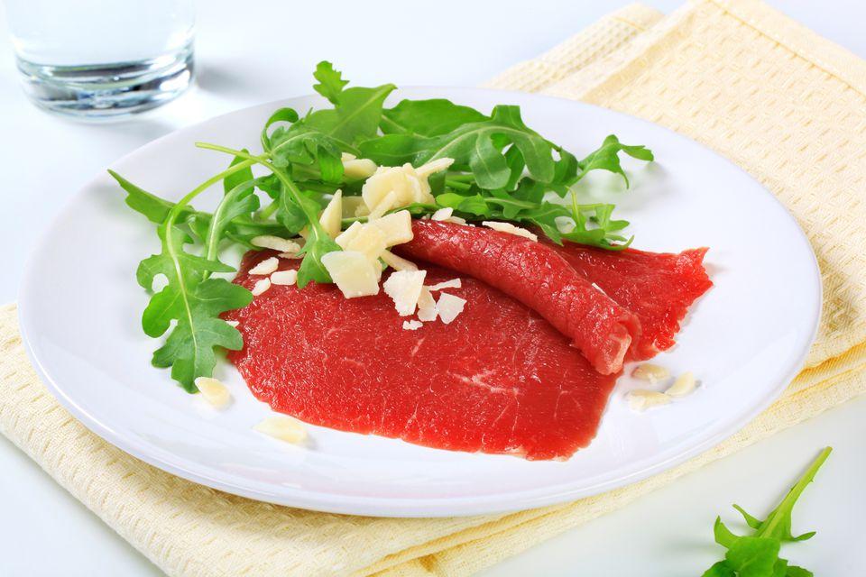 Slices of beef carpaccio