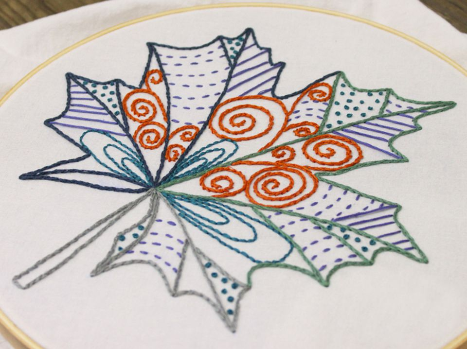 Patterned Leaf Embroidery Pattern