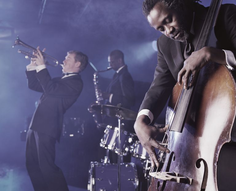 Jazz Band Playing on Stage in a Nightclub, Musician Plucking a Double Bass