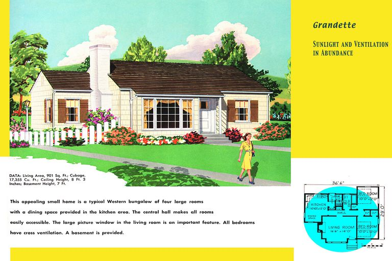 1950s Floor Plan And Rendering Of Ranch Style House Described As A Western Bungalow