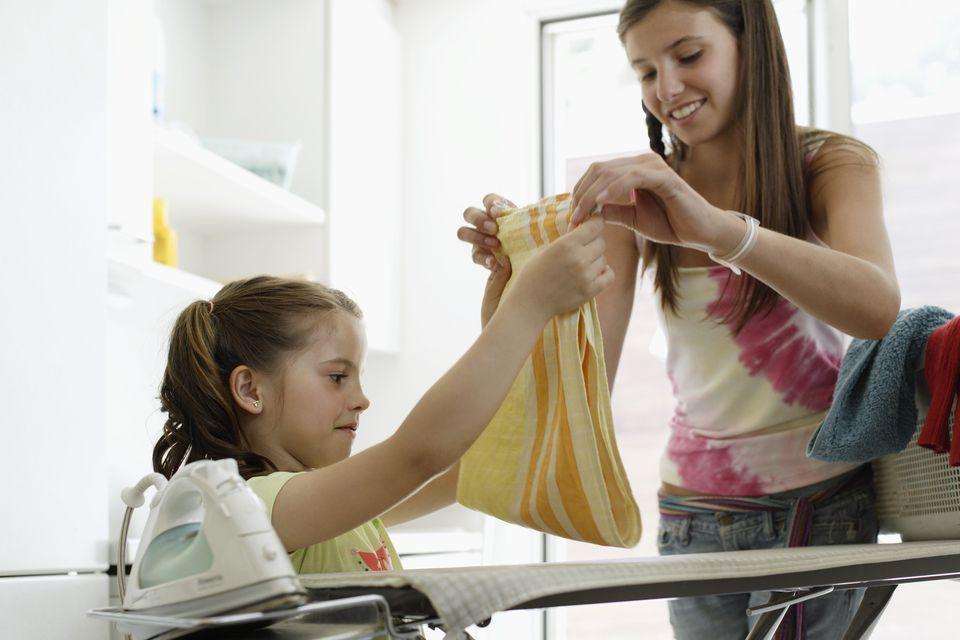teens ironing