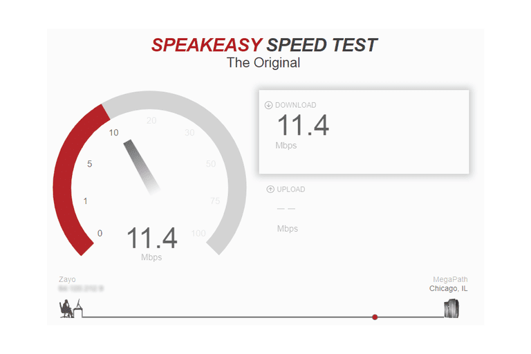 Screenshot of an internet speed test at Speakeasy