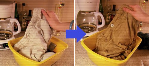 before and after photos of dying khaki pants with coffee