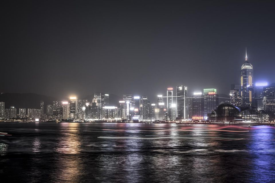 Panoramic of Hong Kong at night
