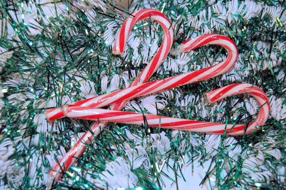 Candy canes over garland
