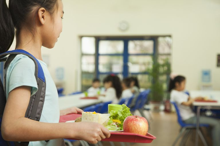 Girl carrying tray in school lunch room
