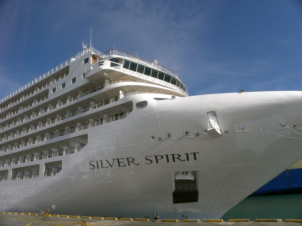 Silversea Silver Spirit at the Dock in Manta, Ecuador