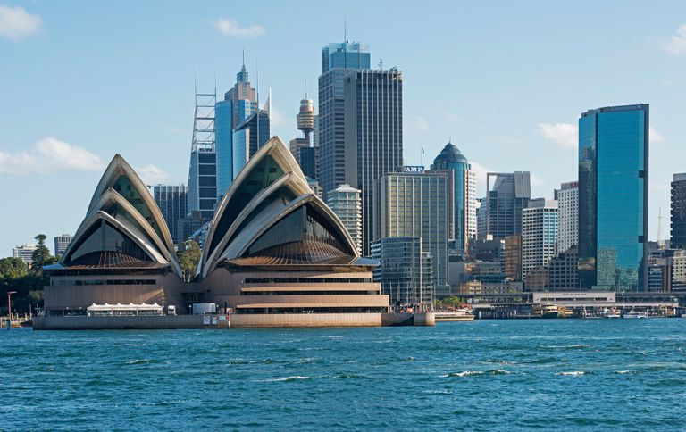 The Sydney skyline in New South Wales, Australia.