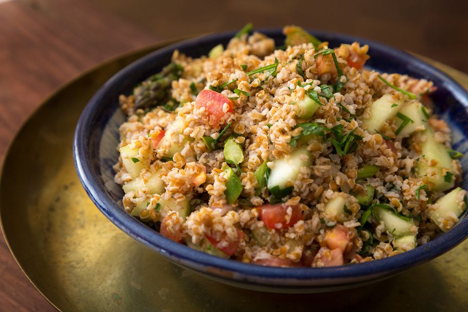 Bowl of vegan tabouleh, made with bulgur a middle eastern salad.