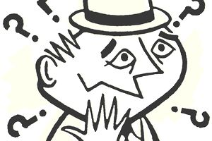 Cartoon of confused man wearing a hat and surrounded by question marks