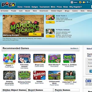 Screenshot of the Pogo.com website