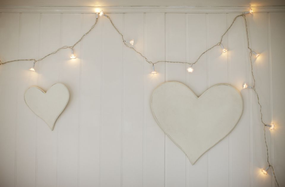 string lights with hearts