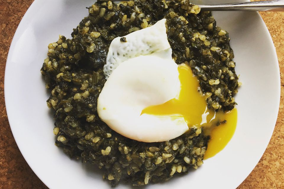 Egg on Spinach Rice