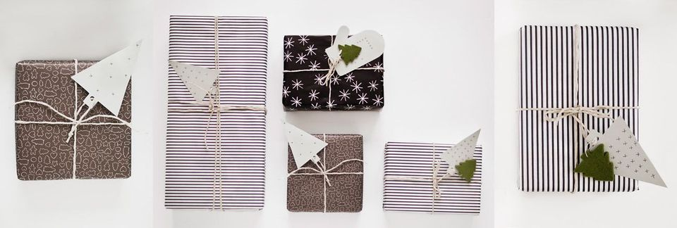 A selection of gifts with modern wrapping paper