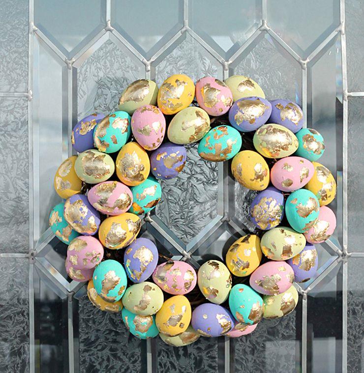 DIY Gold Speckled Easter Egg Wreath
