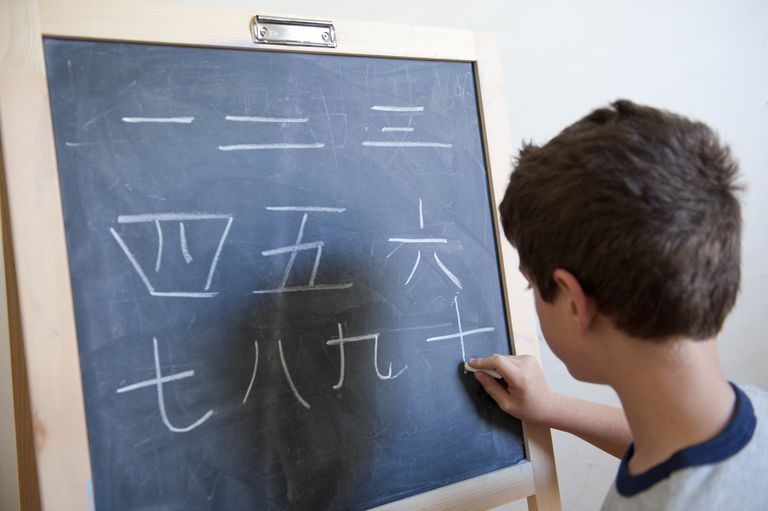 Young boy writing mandarin Chinese on blackboard