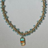 Crochet Necklace With Beads and Dichroic Glass Pendant